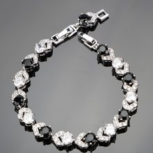 925 Sterling Silver 18+2 CM Ladies Round Black White Gems Bracelets Sliver 925 Jewelry For Women Free Gift Box(Hong Kong,China)