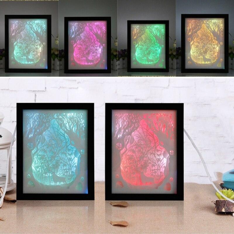 Papercut Light Box LED USB Night Light Lamp Creative Paintings Deer papercut light box led usb night light