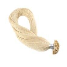 Moresoo Bleach Blonde#613 прямые накладные волосы Remy с плоским кончиком, 1,0 г/локон, 50 г/упак