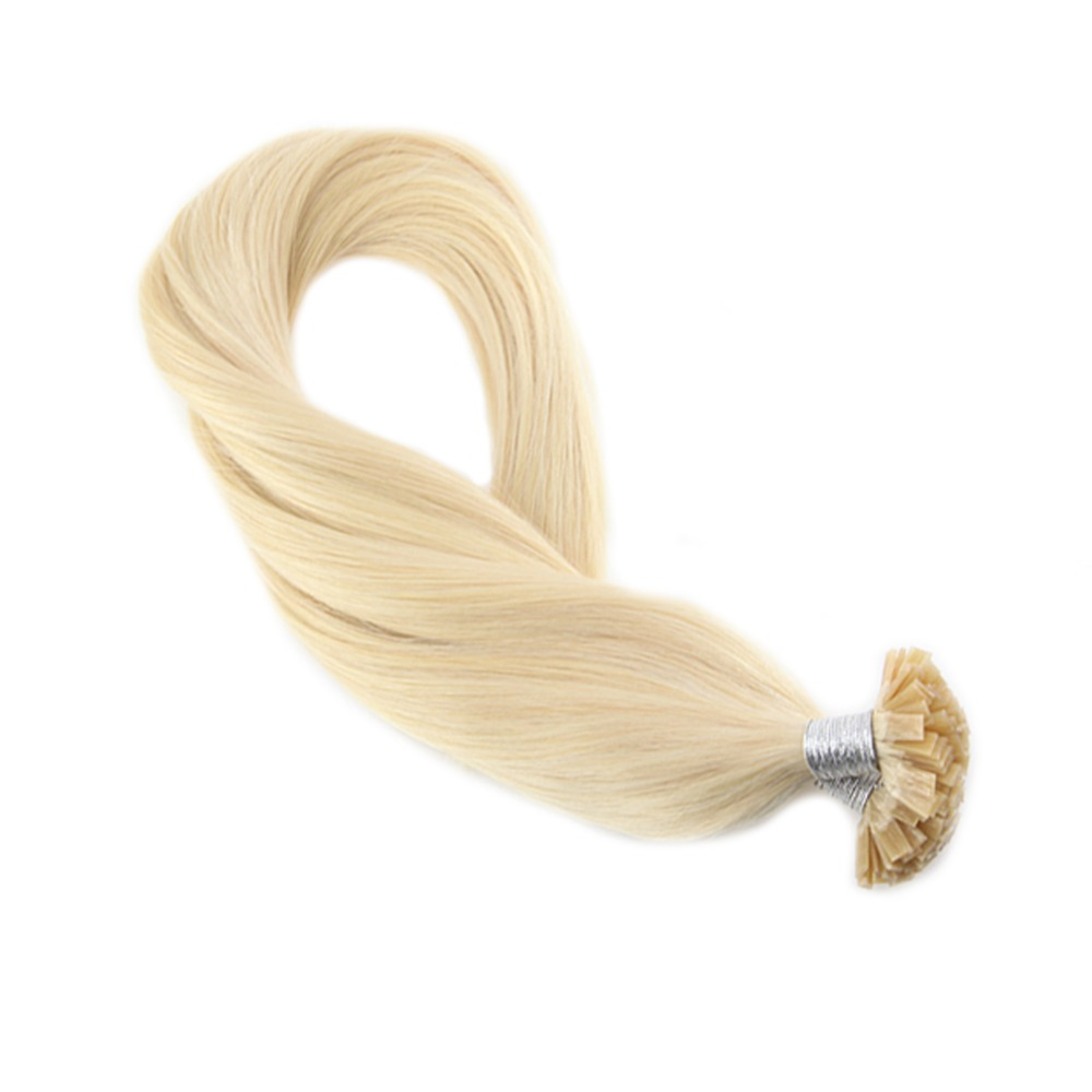 Moresoo Bleach Blonde #613 Straight Fusion Keration Flat Tip Machine Remy Human Hair Extensions 1.0g/s 50g/pack