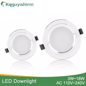 Image 1 - Kaguyahime 1pc/4pcs 3W 15W LED Downlight 110V 220V Round LED Ceiling Recessed Spot Light 5W 7W 9W 10W 12W 15W Aluminum Surface