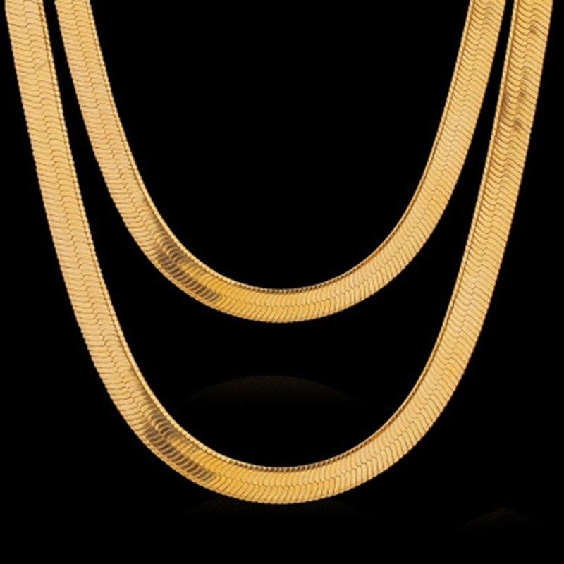 Colar de corrente de bronze banhado a cores para correntes de espinha de peixe feminino de bronze para jóias que fazem o presente