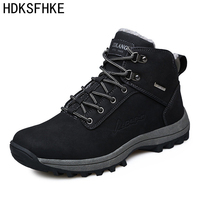 39 46 Winter Leather Men Boots Work Casual Boots Men Winter Shoes Male Rubber Snow