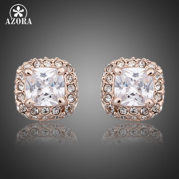 39f3d7334 AZORA Rose Gold Color Stellux Austrian Crystal Rectangle Stud Earrings  TE0077