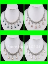 $wholesale_jewelry_wig$ free shipping New 4 PCS Black Pink White Purple Pearl Necklace