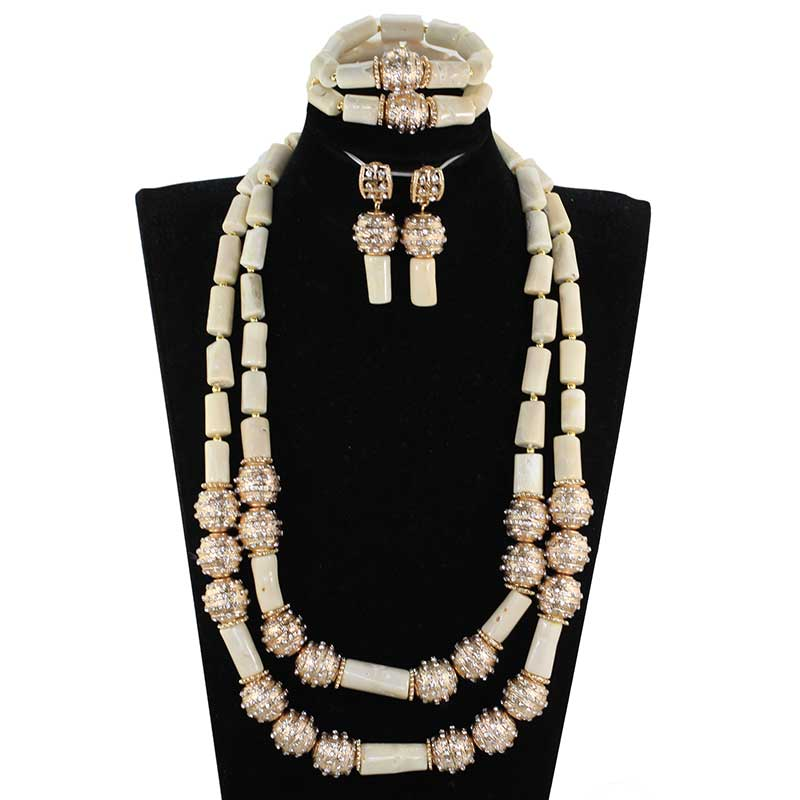 White African Coral Beads Bridal Jewelry Set 26 inches Long Coral Women Necklace Set Anniversary Party
