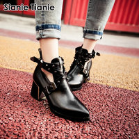Sianie Tianie pointed toe chunky high heels female motorcyle boots punk gothic woman ankle boots with studded rivets cross strap