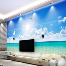 Купить с кэшбэком Personalized blue sky and white clouds beach scenery 3D romantic home decoration TV living room background wall