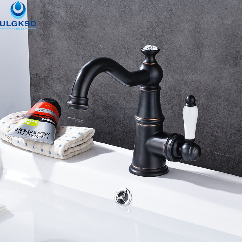 ULGKSD Wholesale and Retail Black Brass Bathroom Sink Faucet Single Black and White Handle Deck Mounted Basin Faucet Mixer Tap wholesale and retail chrome finish bathroom wall mounted basin sink countertop faucet