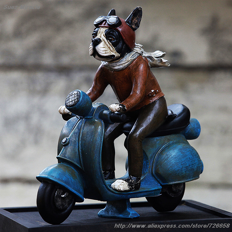 Distress Retro Glaze resin The dog Motorcycle Rider Retro living room office Children's room ornament decoration gift