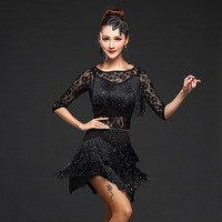 2018 Women Competition Dance Clothes Sequins Costume Set with Sleeves Fringe Salsa Dresses Ballroom Dance Ladies Latin Dress
