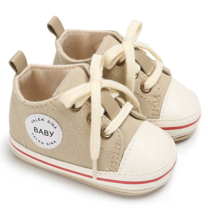 2020 Newborn Baby Shoes First Walkers Casual Canvas Tollder Infant Sport Shoes Lace-up Baby Boys Girls Sneakers Prewalker 0-18M