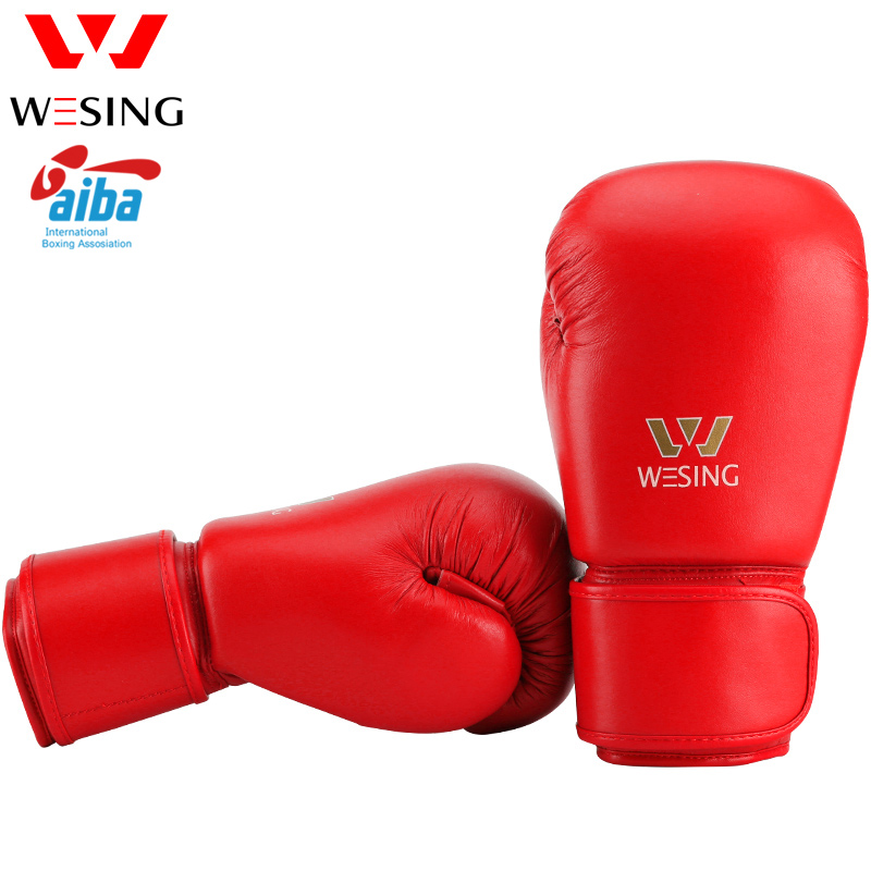 Wesing AIBA Approved Boxing Gloves 12oz Competition Professional Training Kickboxing Sanda Boxer Gloves Red Blue цена