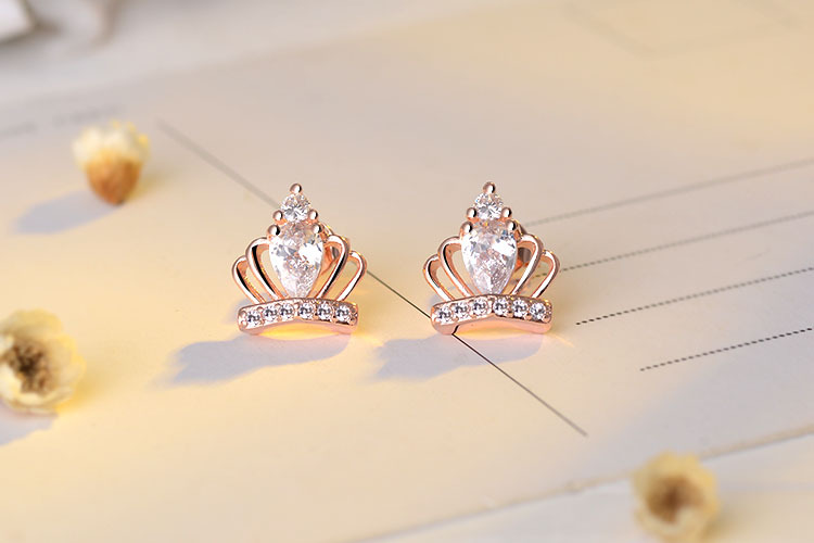 RUOYE New Gold Silver Color Luxury Crystal Women Stud Earring - Fashion Jewelry - Photo 4