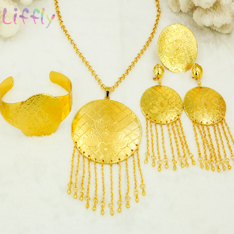 Fashion Jewelry Sets Indian Flying Cake Embossed Tassel Necklace Earrings Ring Bracelet Women Middle East Dubai Jewelry Sets in Jewelry Sets from Jewelry Accessories