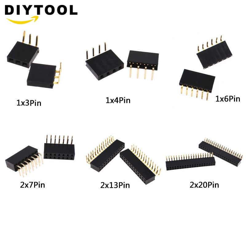 20Pcs Right Angle Single Row Pin Header 1X6 Pin 2.54MM Female Connector eu