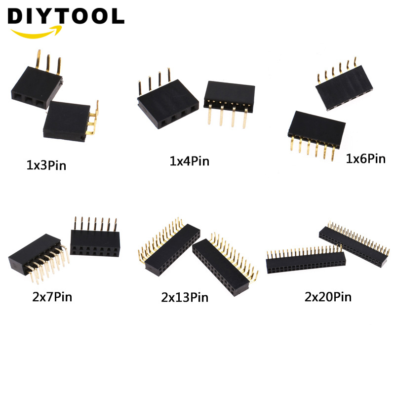 10pcs 1X3 1X4 1X6 2X7 2X13 2X20 Pin 2.54 Mm Right Angle Single Row Pin Header Male 90 Degrees Needle Connector