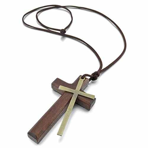 Alloy Leather Wood Pendant Necklaces Gold Brown Cross Vintage Retro Adjustable Men Women Chains