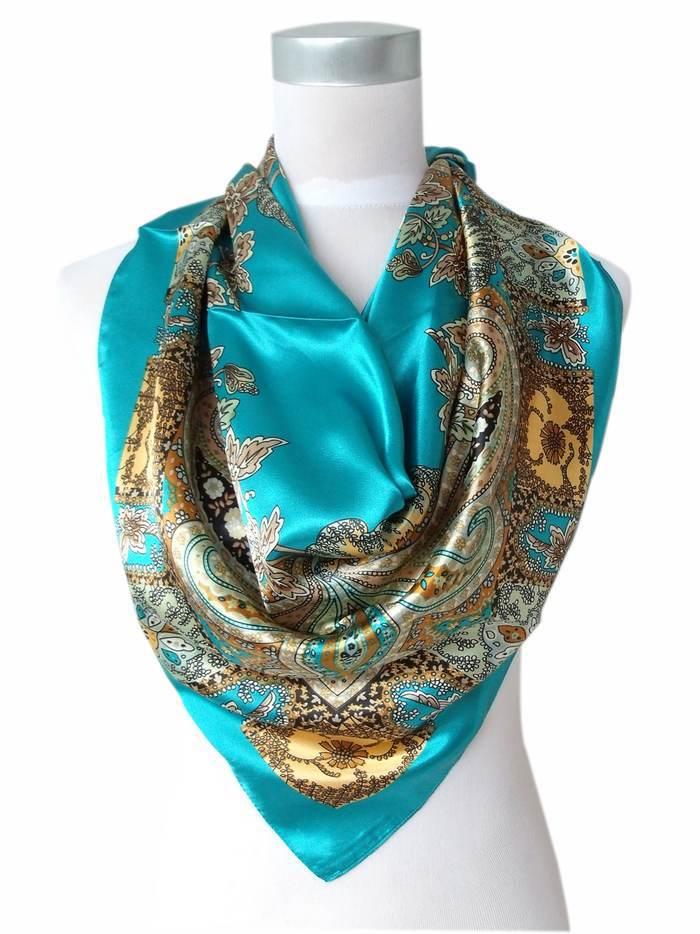 Дизайн женский Шелковый большой квадратный шелковый шарф из полиэстера, 90*90 см горячая Распродажа атласный шарф с принтом для весны, лета, осени, зимы - Цвет: 41 blue