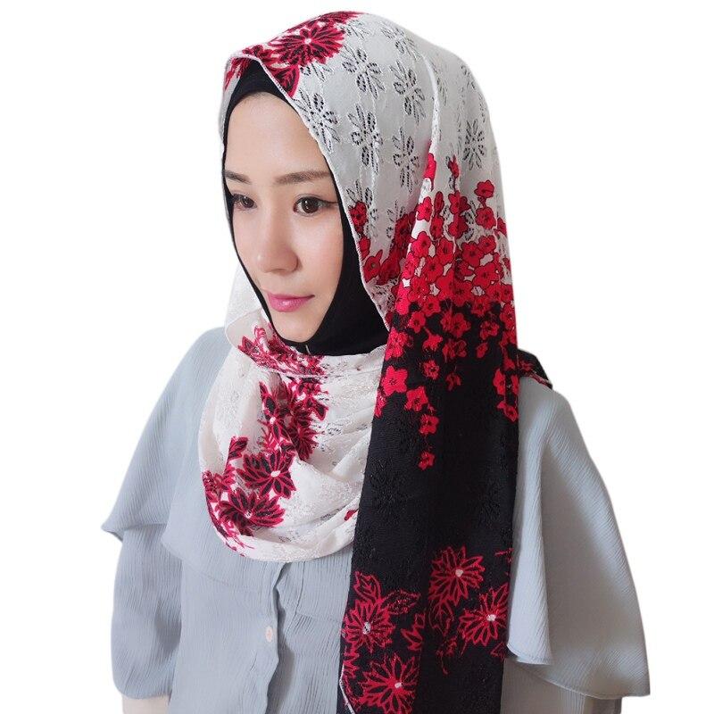 2018 Dames De Mode D'hiver Floral Jersey Hijab Imprimer Wrap Femme Châles Foulards Musulman Hijabs 60*150 cm H8