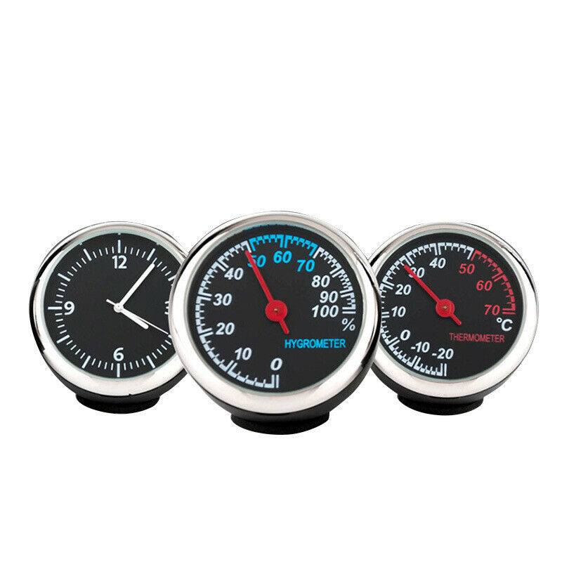 3Pcs/Set Car Thermometer Hygrometer Quartz Clock For Car Digital Practical Dashboards Movement Kit