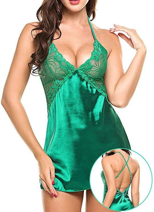 Женская Экзотическая одежда, нижнее белье, сексуальные эротические костюмы, нижнее белье Babydoll, сексуальное белье размера плюс, сексуальные платья, пижамы, S-XXL - Цвет: green