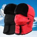 2016 Nuevo de Las Mujeres o los Hombres Bomber de Piel Sombreros Sombrero Del Invierno Ruso al aire libre Caliente Grueso Caps con Orejeras y Orejeras Máscara de esquí cap