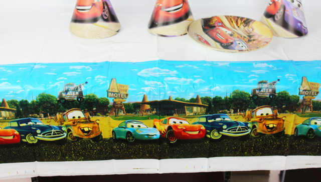 Cars Theme Boy Girl Birthday Party Decoration Decorations Kids Plastic Table Cloth Size 220cm X 132cm
