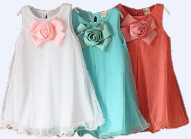 Nové 2019 dětské šaty dívky Baby modré / bílé / růžové dívky oblečení dívka strana šaty dítě šaty oblečení kostýmy doprava zdarma