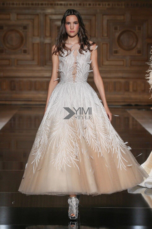 Plume Champagne Robe De bal luxueux cheville longueur robes De soirée mode formelle Robe De soirée thé longueur Robe De soirée