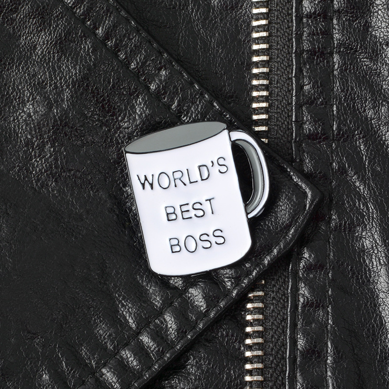 New WORLDS BEST BOSS gray cup brooch personality fashion domineering boss cup brooch jewelry denim clothes pendant gift accessor image