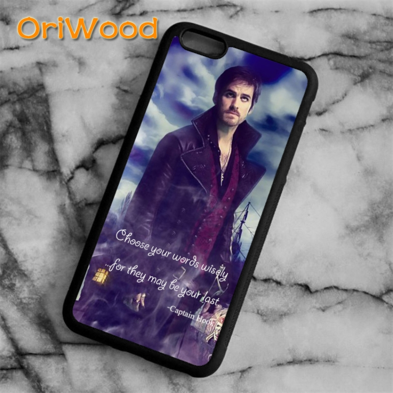 OriWood Once Upon a Time Captain Hook Quote Case cover for iPhone 6s 7 8 plus X XR XS 11 12 pro max Samsung Galaxy S7 S8 S9 S10