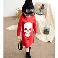 Niños de la manera ropa Cráneo rojo cabeza de los bebés ropa de manga larga niños del vestido del bebé niñas de dibujos animados ropa casual