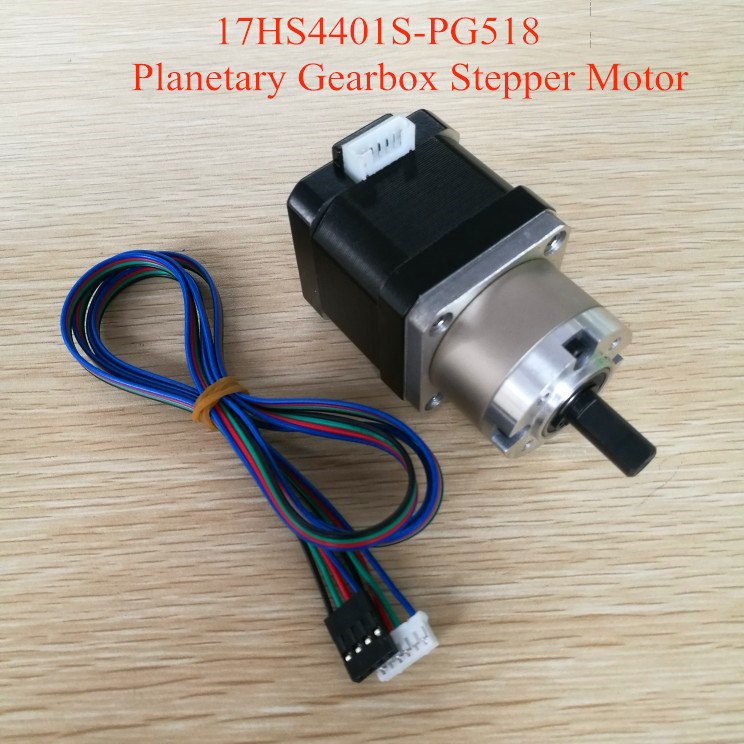 free shipping 4 lead Nema17 Stepper Motor 42 motor Extruder Gear Stepper Motor Ratio 5:1 Planetary Gearbox Nema 17 Step Motor