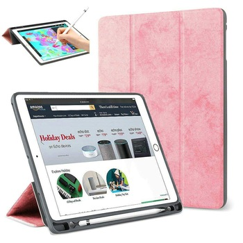 Case For iPad Pro 12.9 2017/2015 With Pencil Holder,Slim Smart Cover Trifold Stand Auto Sleep/Wake Tablet Case for iPad Pro 12.9