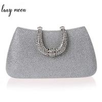 63ed4b298e54 ... вечерние сумки клатчи для. Classic Elegant Unique Design U Shape Diamond  Clasp Clutch Bags Silver Color Women Evening Bags Female