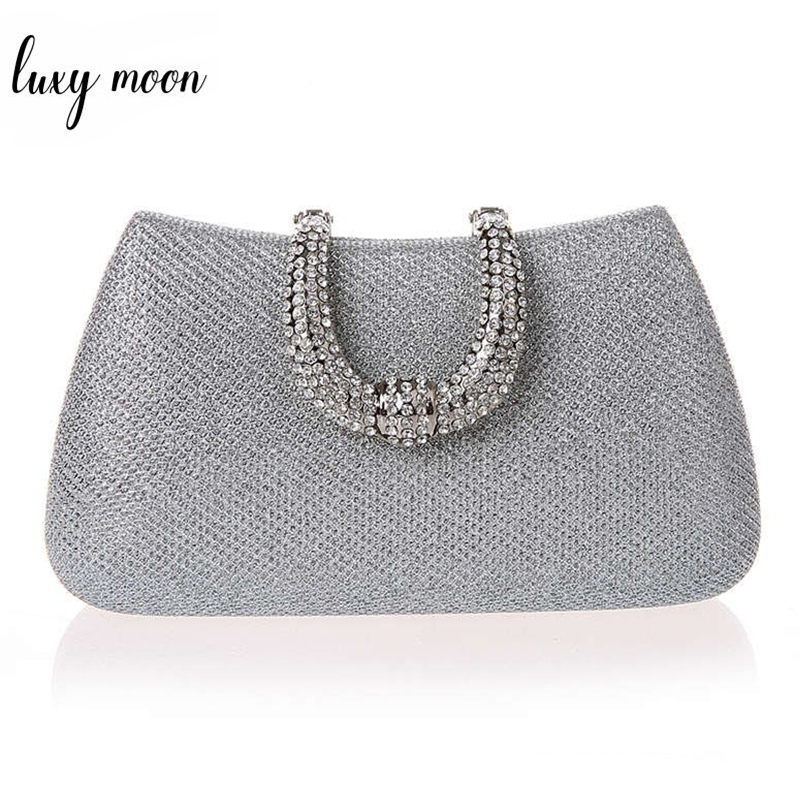 Classic Elegant Unique Design U Shape Diamond Clasp Clutch Bag Women's Evening Bags