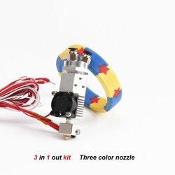 He3d 3d impressora peças 3 em 1 para fora multi-cor extrusora kit de extremidade quente três cores interruptor hotend kit para 0.4mm 1.75mm