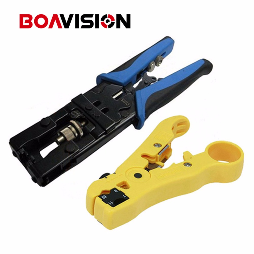 CCTV Camera Installation Compression Tool For F/BNC/RCA RG-58/59/62/6(3C/4C/5C) Type And Cable Stripper Tool Kit