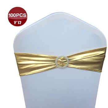 Pack Of 100 Spandex Elastic Chair Sash Band with Buckle for Wedding Banquet Party Decor Metallic Gold Silver Chair Sashes