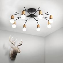 Candelabros de madera accesorios de iluminación para el hogar nórdico rústico lámpara de techo atmósfera lámpara de salón de madera Rama de luz mejor lámpara asequible