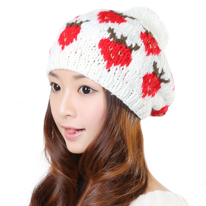 BomHCS Cute Strawberry Women 100% Handmade Knit Hats Baggy Beanie Hat Winter Warm Cap bomhcs cute women autumn winter warm thick handmade knit hats beanie cap hat