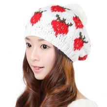 Cute Strawberry Women 100% Handmade Knit Hats Baggy Beanie Hat Winter Warm Cap