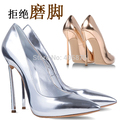 New shoes woman 10CM high heels sexy suede pointed toe pumps,champagne gold metal heel women pumps wedding shoes size EU 33-43