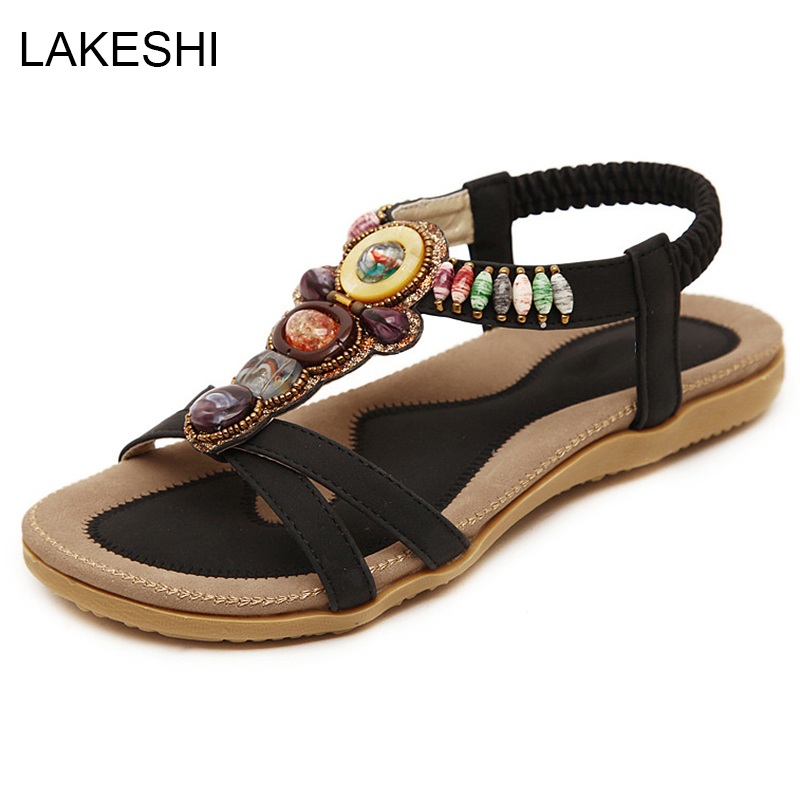 LAKESHI Beaded Women Sandals Flat Summer Shoes Fashion Beach Shoes Ladies Sandals Black 2016 fashion summer women flat beaded bohemia ppen toe flat heel sweet women students beach sandals o643
