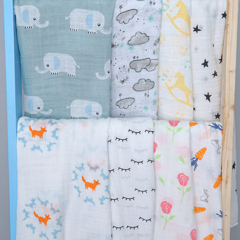 Cotton Baby Blankets Newborn Photography Prop Printed Infantil Baby Boy baby Girl Sleep Swaddle Muslin Diapers Baby Accessories Karachi