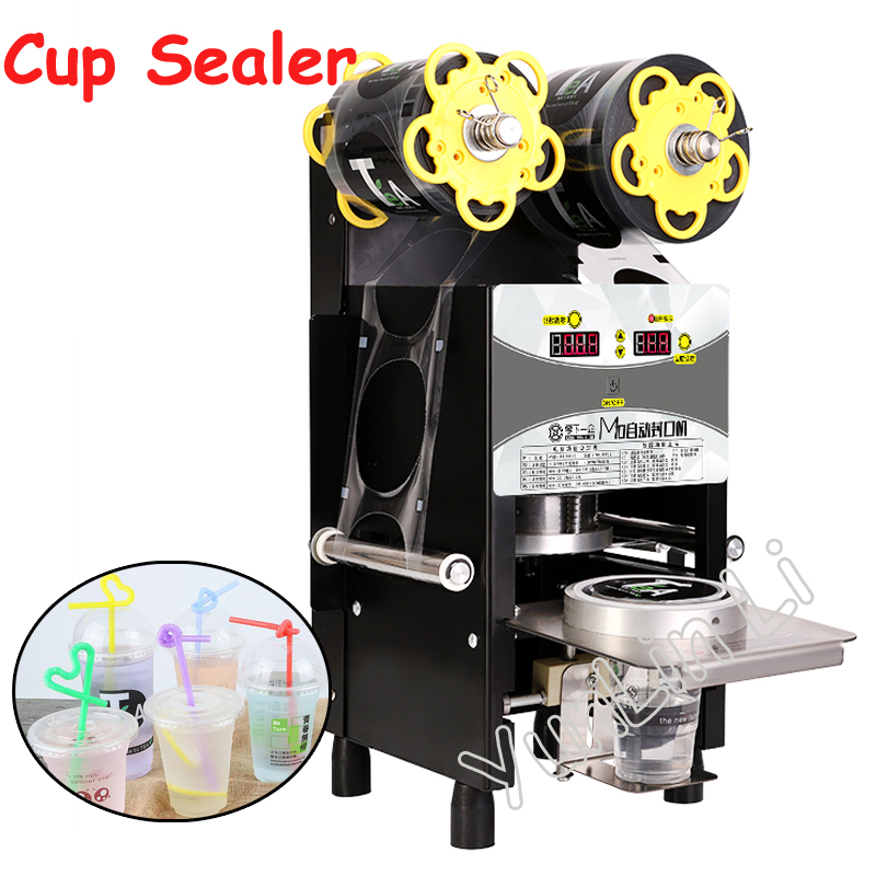 цены Automatic Cup Sealing Machine Commercial Plastic Milk Tea Cup Sealer Portable Electric Drinks Sealing Machine M10