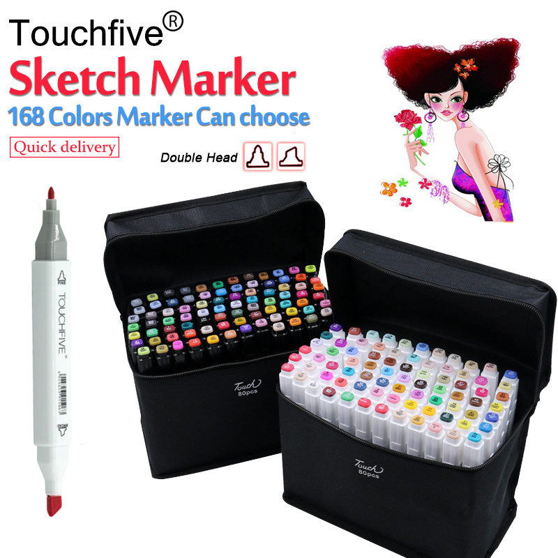 TouchFive 30/40/60/80 Colors Dual Headed Alcoholic Based Marker Set Best For Manga Animation Copic Markers Art Sketch Marker touchnew 30 40 60 80 colors art markers alcohol based markers drawing pen set manga dual headed art sketch marker design pens