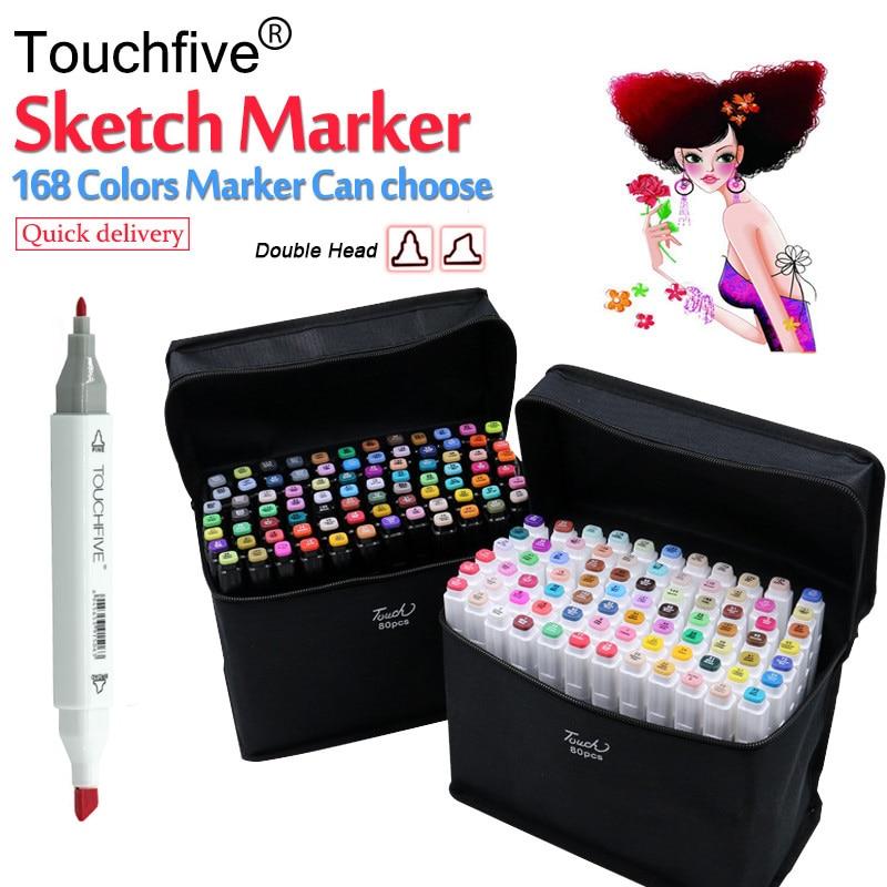 Touchfive Marker Pen Set Dual Head Sketch Markers 30/40/60/80 Colors Brush Pen For Draw Manga Animation Design Art Supplies touchnew 30 40 60 80 168colors pen marker set dual head sketch markers brush pen for draw manga animation design art supplies