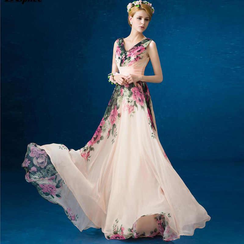 2017 summer new sleeveless chiffon dresses womens bohemia V collar slim  floral print floor length maxi fd645bb69045